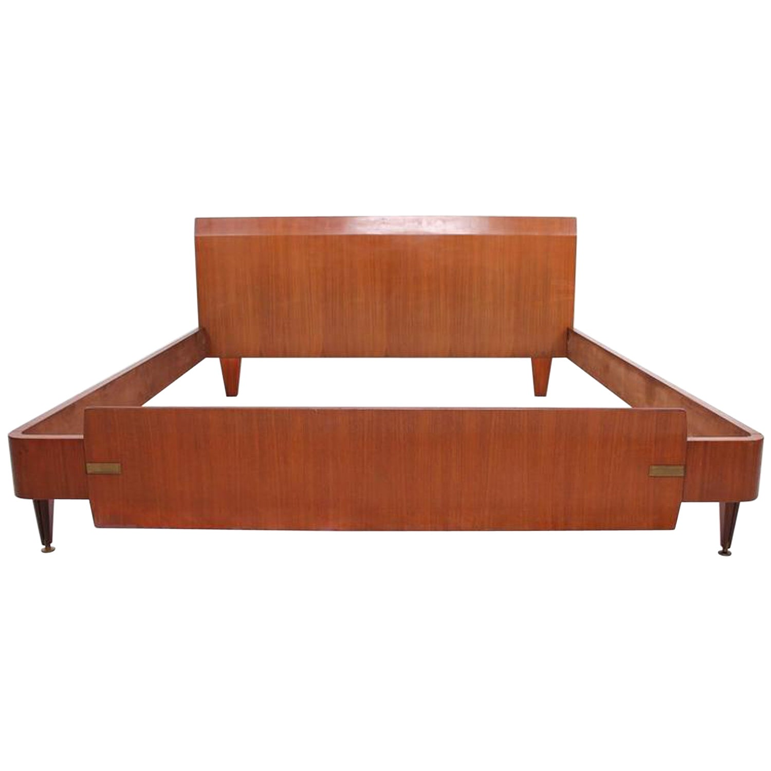 Dassi Mid-Century Modern Italian Bed with Brass Detail 1960s after Gio Ponti