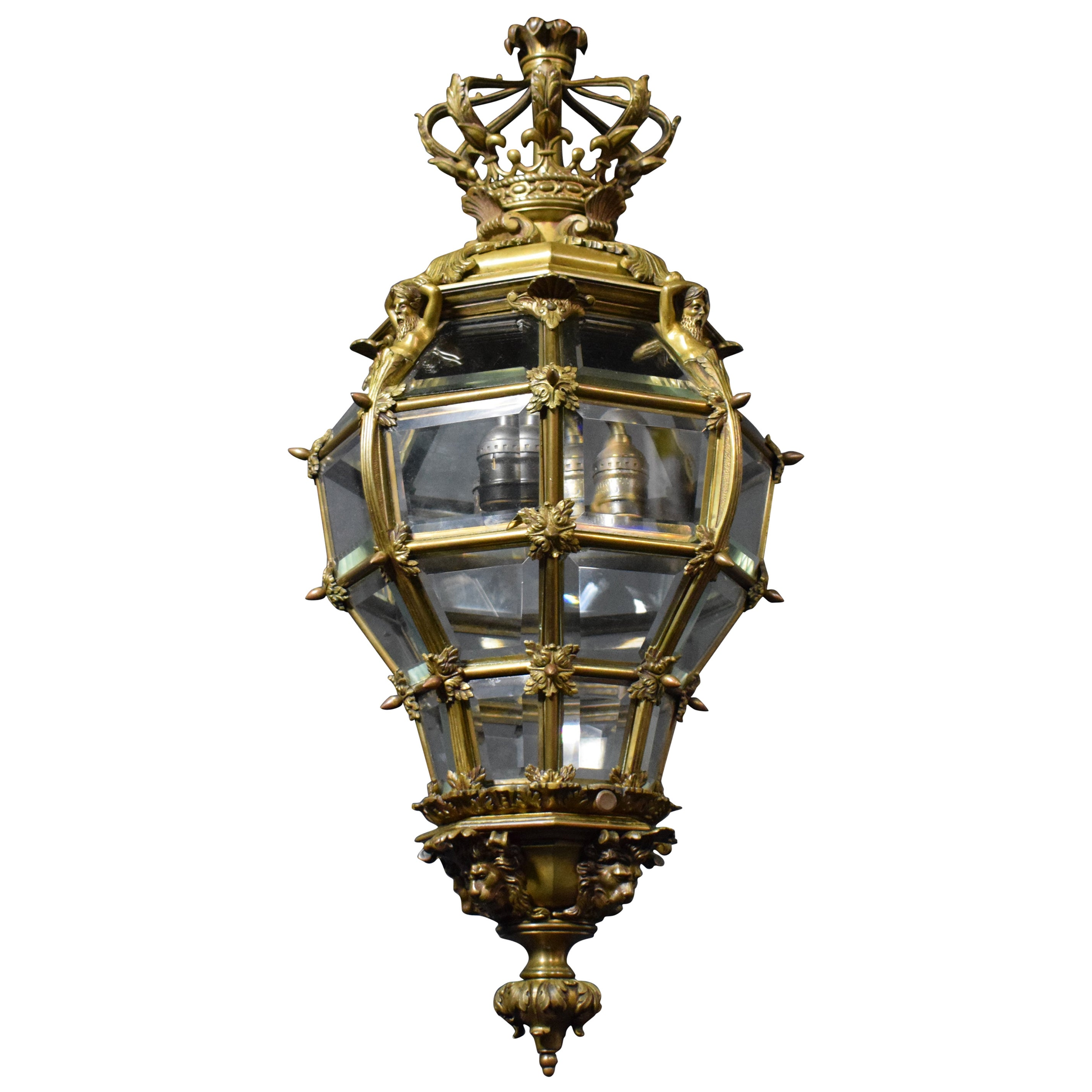 Bronze Lantern with Hand Beveled Crystal Panels