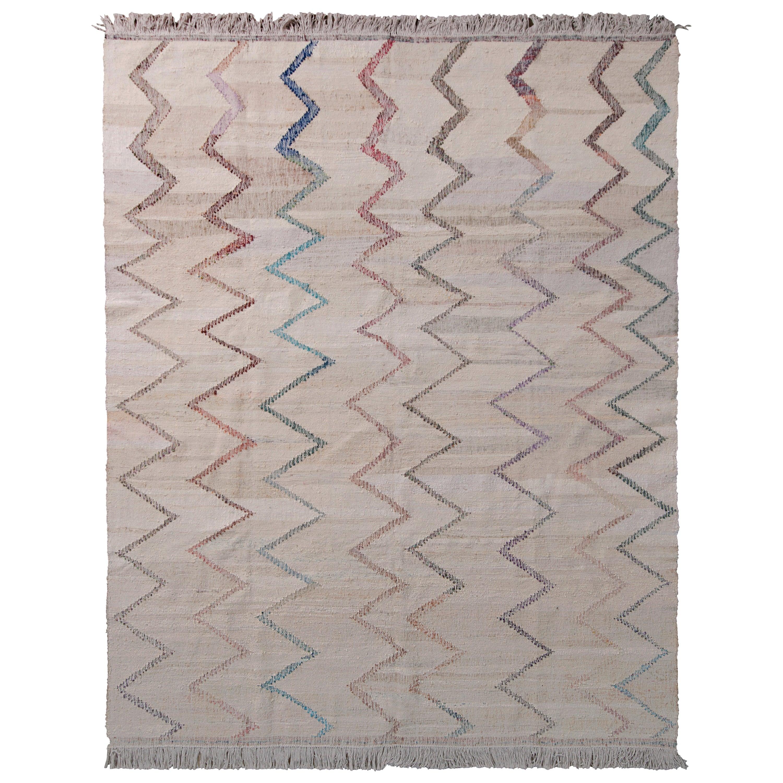 Contemporary Kilim Wool Beige Brown Chevron Pattern by Rug & Kilim