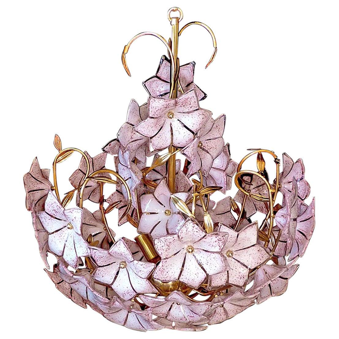 Large Venini Italian Murano Pink Flower Bouquet Art Glass Gilt Brass Chandelier