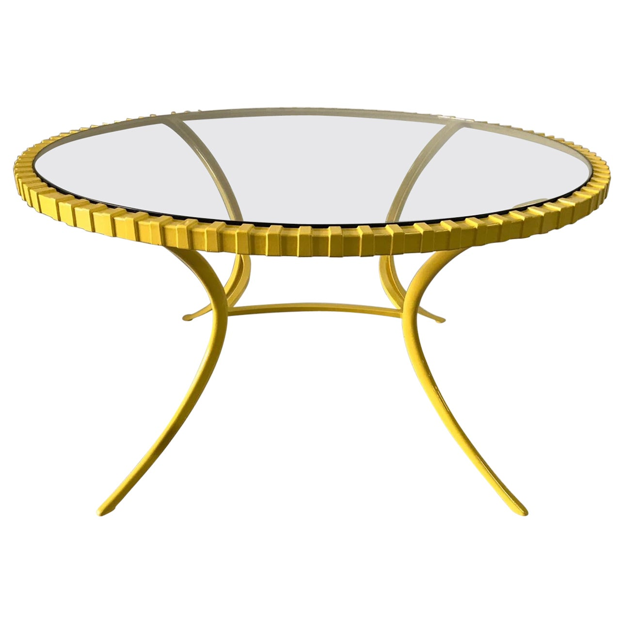 Large Round Canary Yellow Klismos Table by Thinline