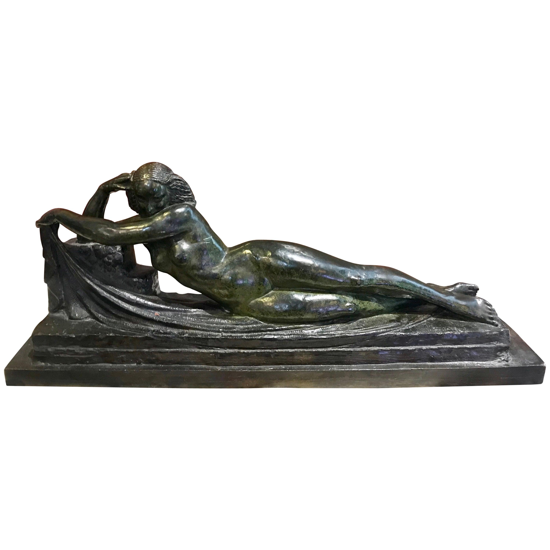 Pierre Le Faguays Bronze Sculpture of a Nude Woman