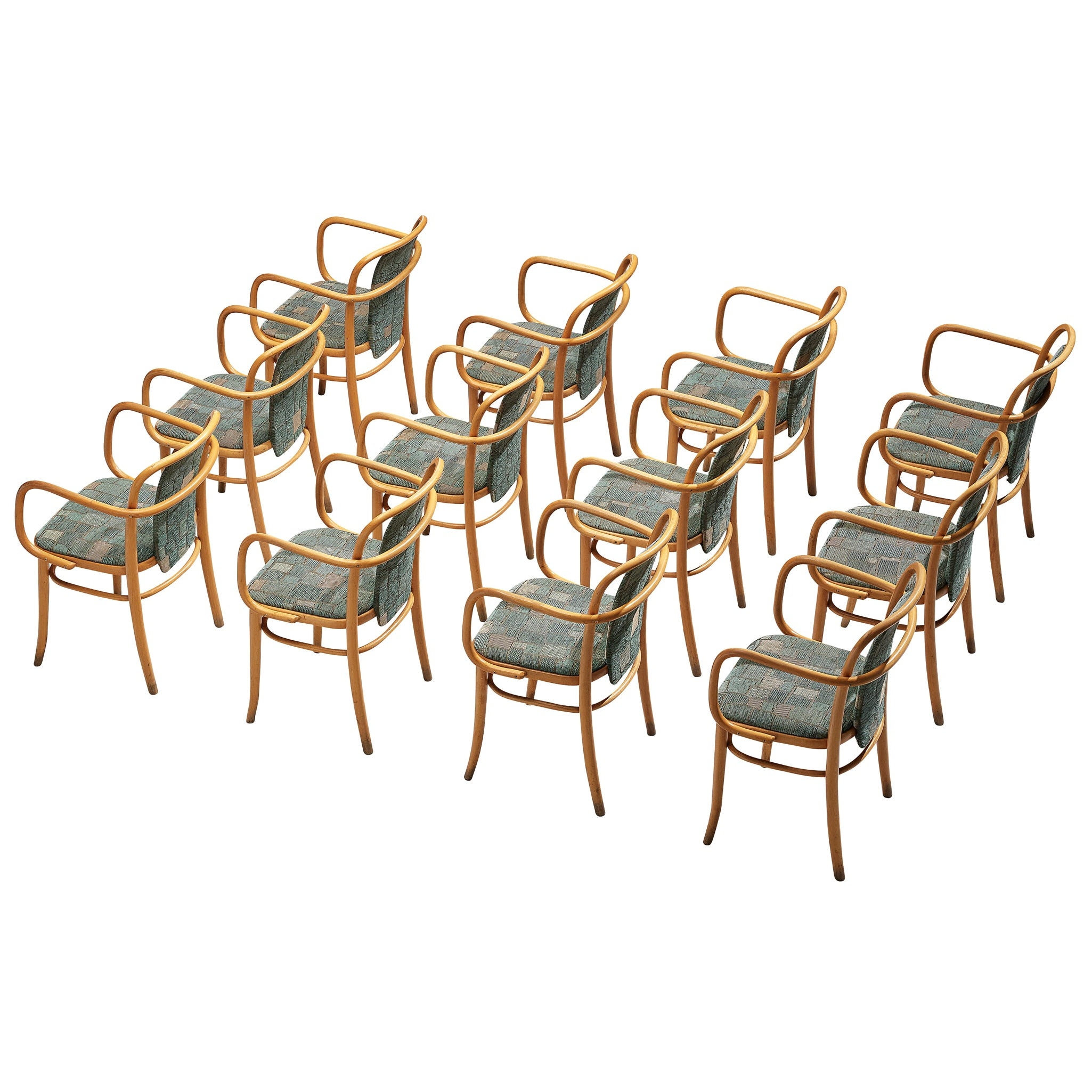 Large Set of Bentwood Armchairs in Green Upholstery