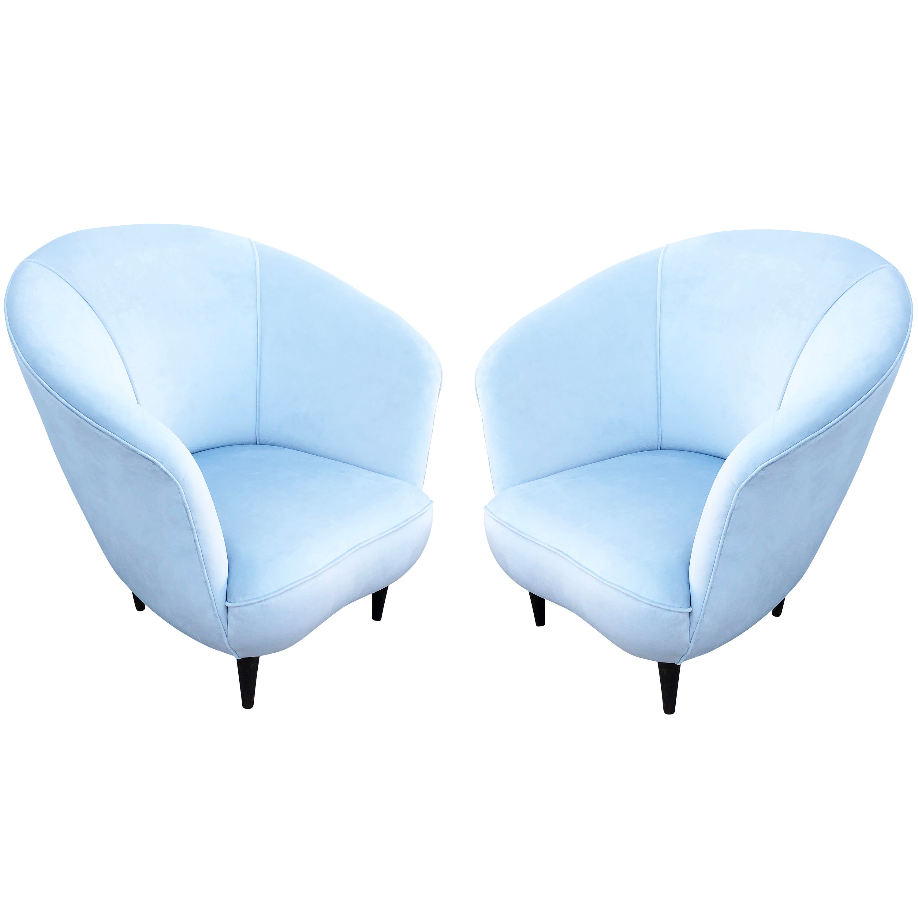 Pair of Rounded Italian Midcentury Lounge Chairs