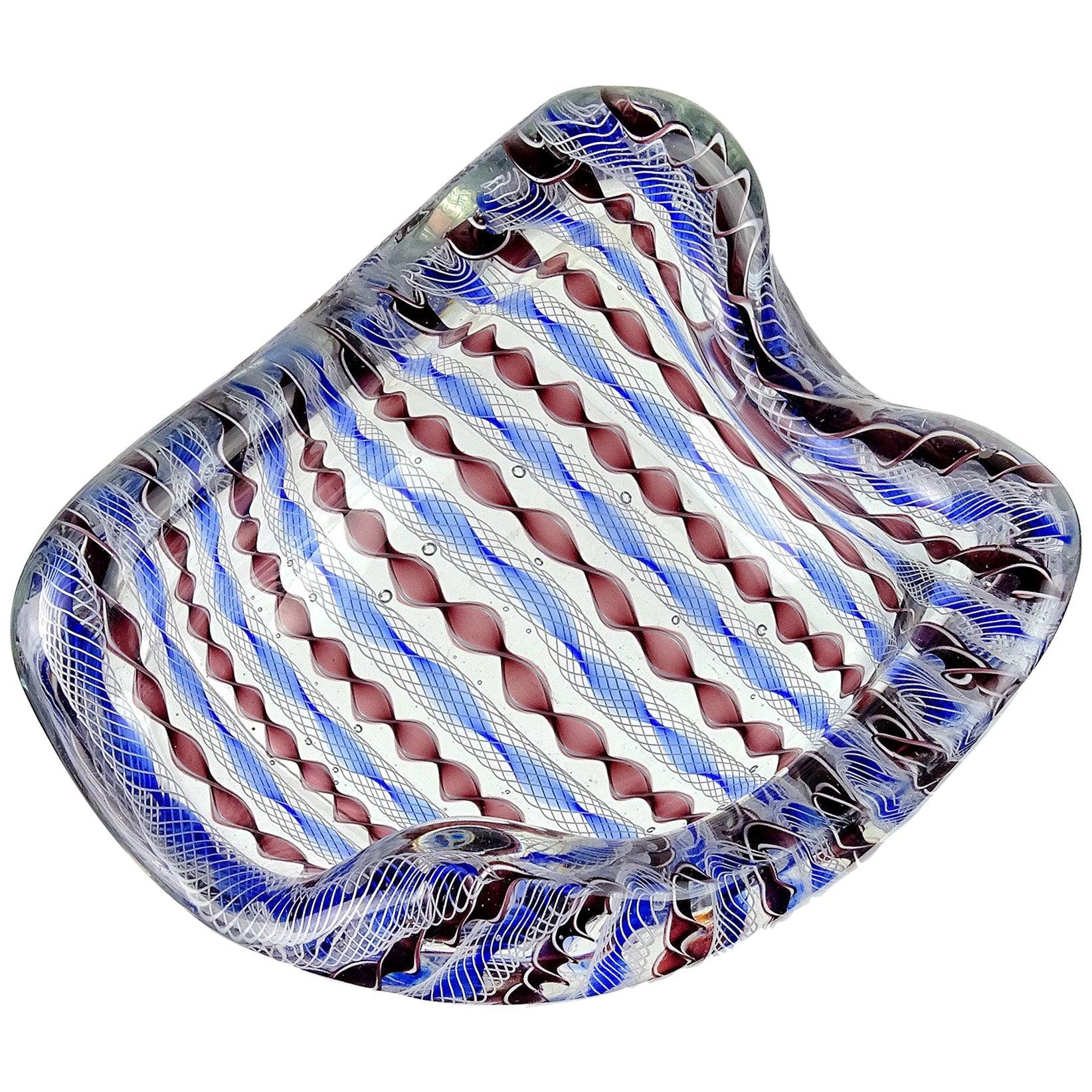 Archimede Seguso Murano Blue Zanfirico Latticino Ribbons Italian Art Glass Bowl