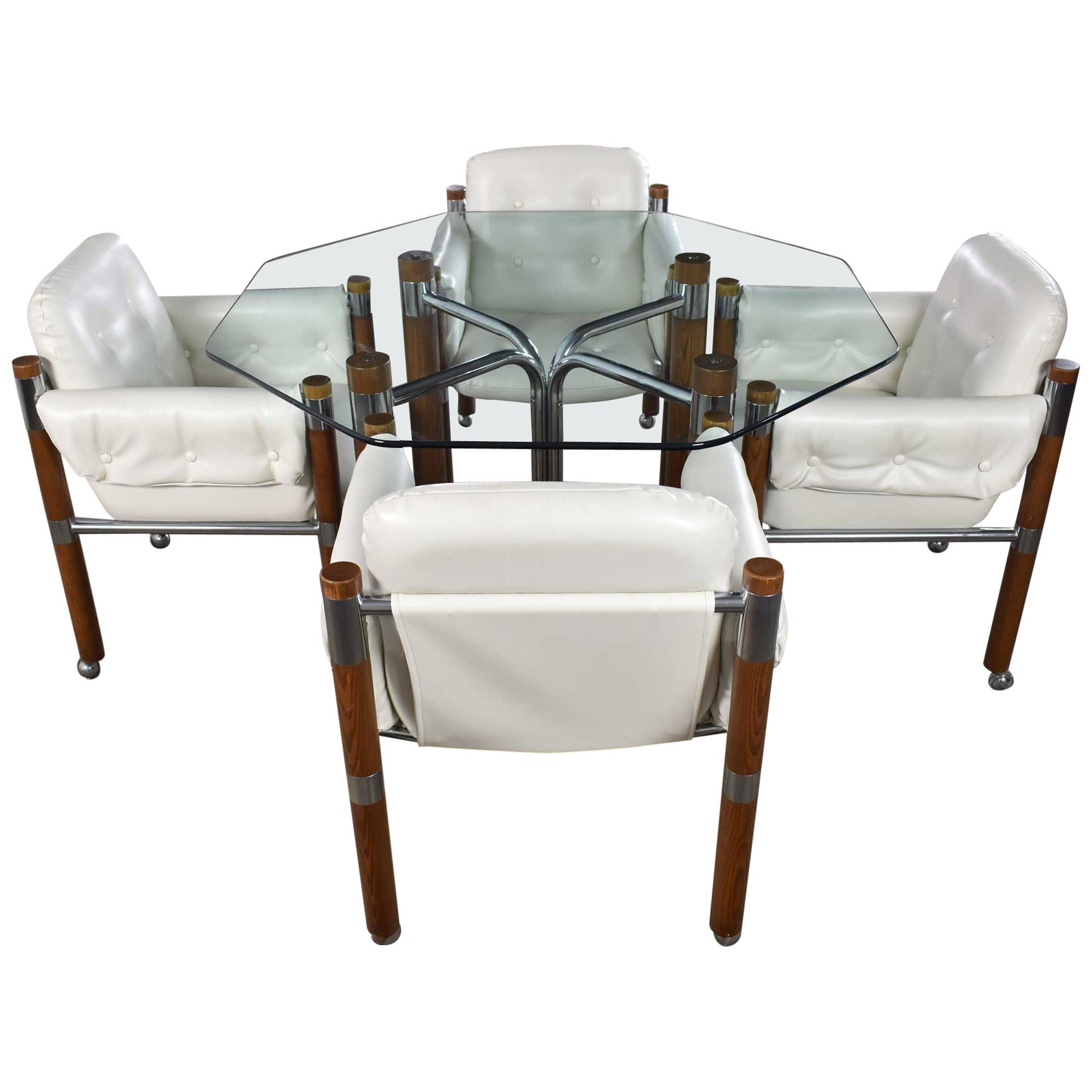 Modern Game Table or Dining Table Glass Chrome Oak with Four White Rolling Chair