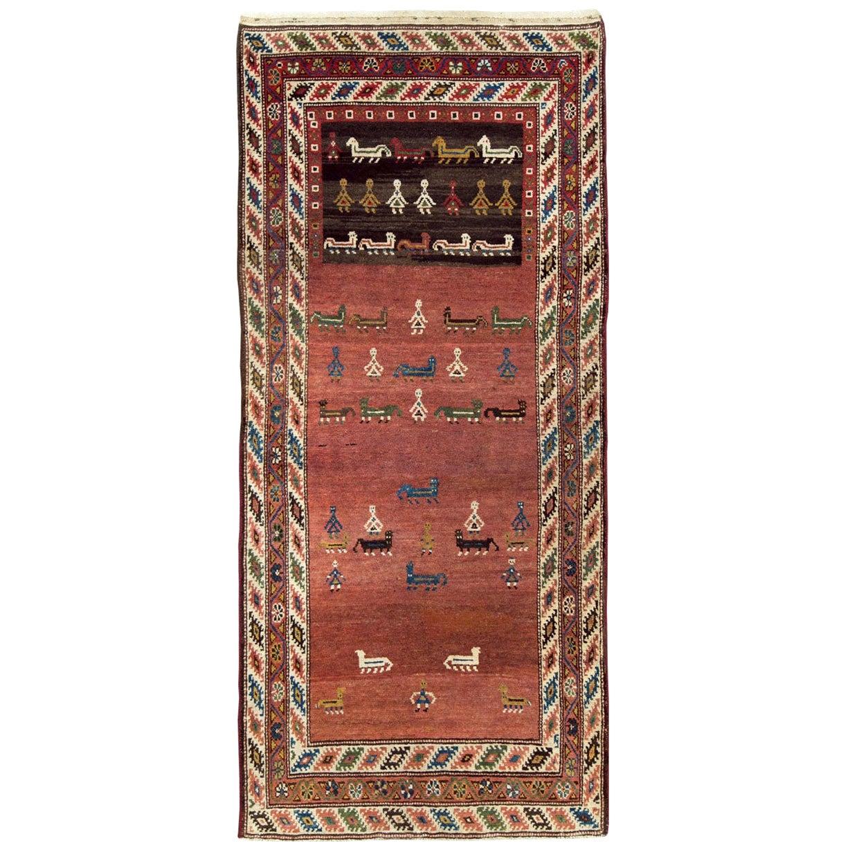 Early 20th Century Handmade Persian Tribal Pictorial Kurd Runner