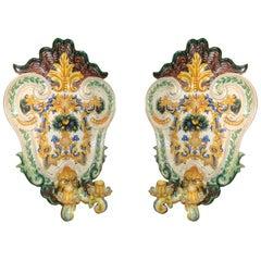 Pair of Large Italian Porcelain Sconces