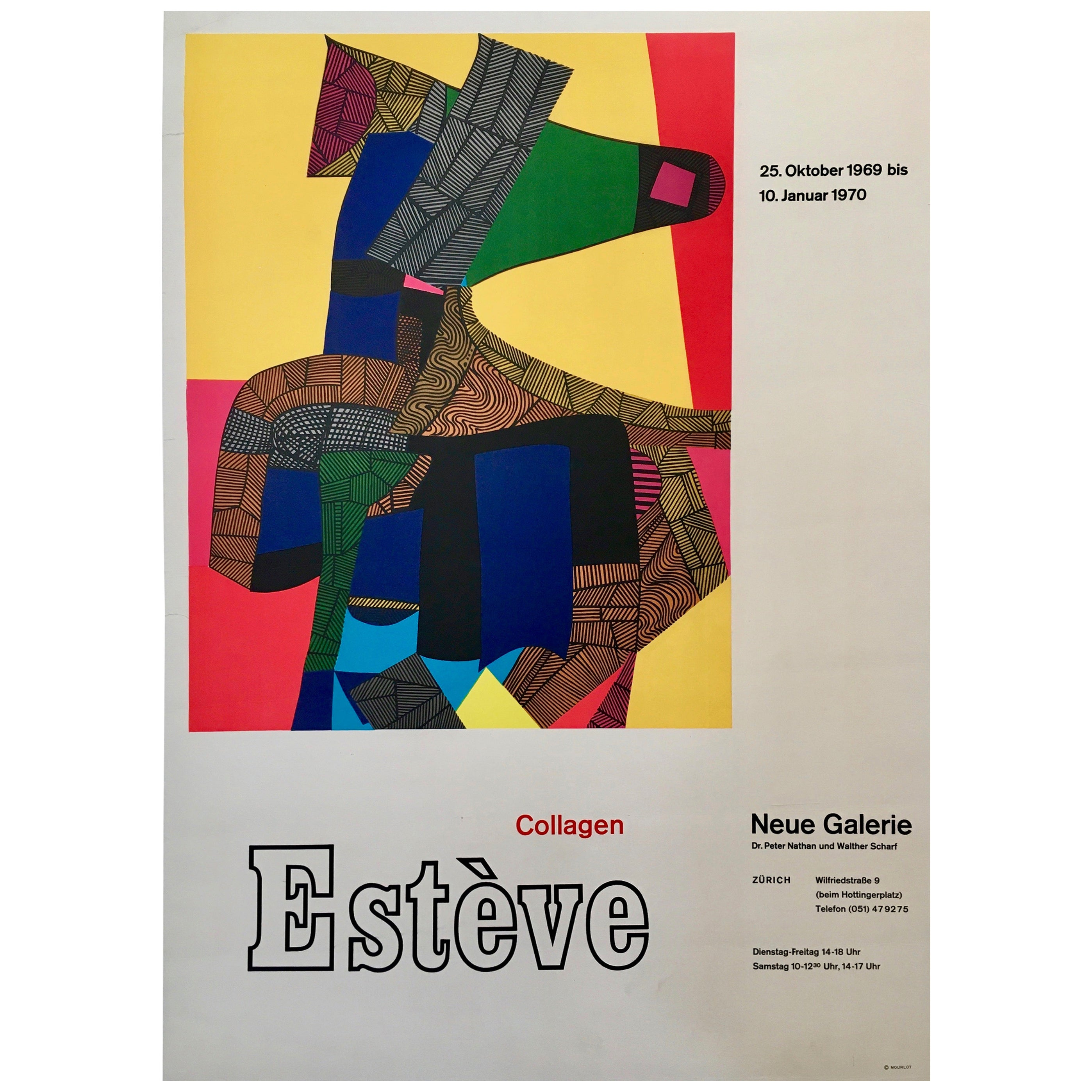 Maurice Estève Neue Galerie Exhibition Original Vintage Poster, 1970