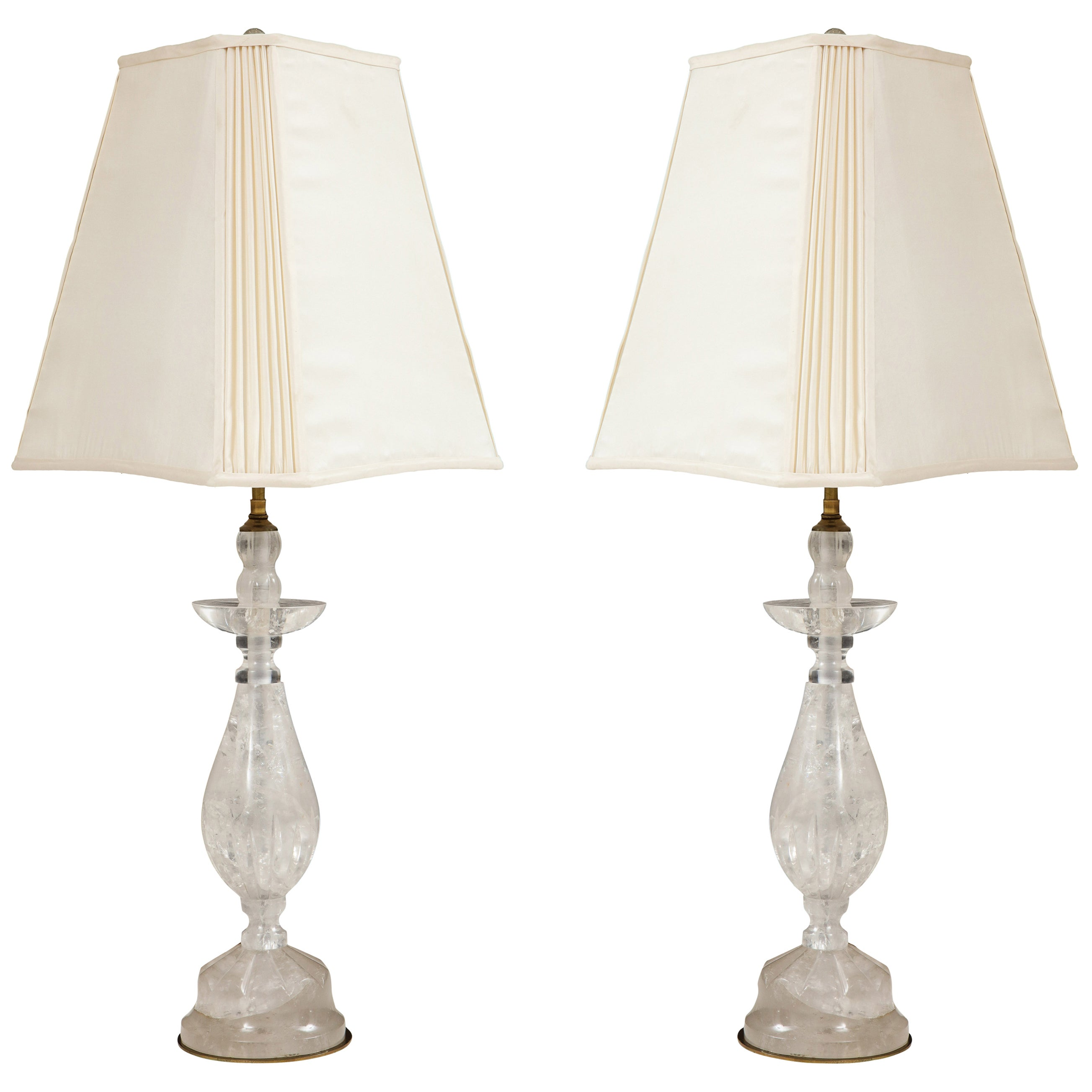 Pair of Baluster Form Rock Crystal Lamps