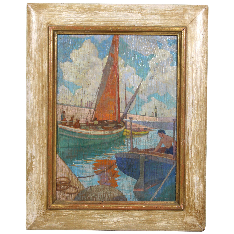 Carl Moser Austrian Modernist Port Scene Oil Painting