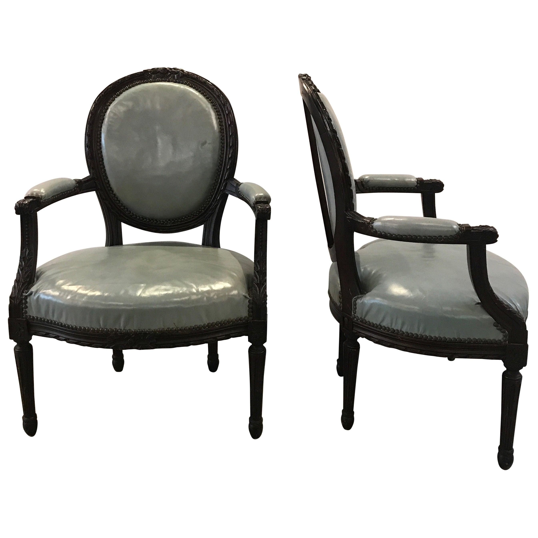Pair of Mid-19th Century Louis XVI Style Armchairs
