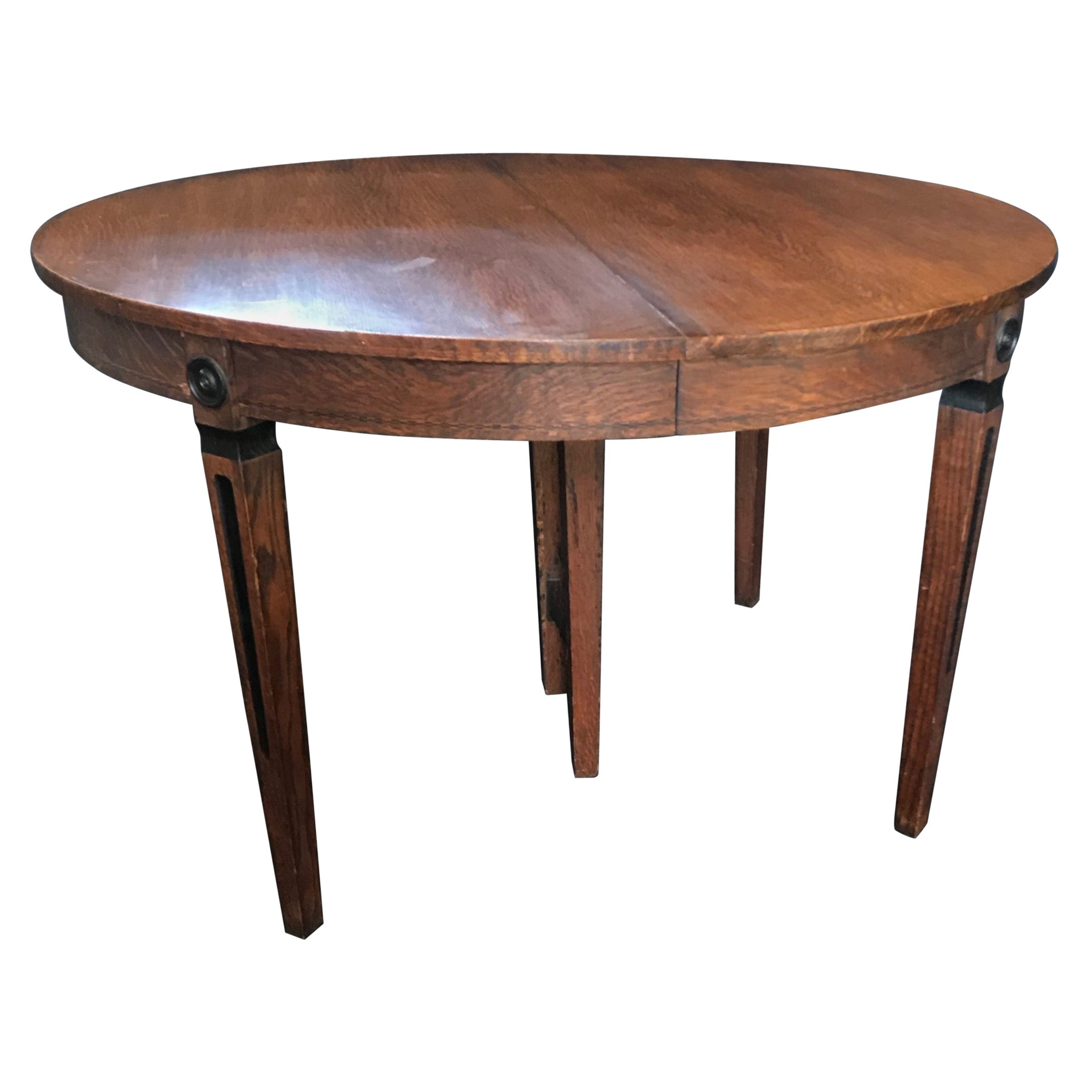 Round Louis XVI Style Oak Extendable Dining Table