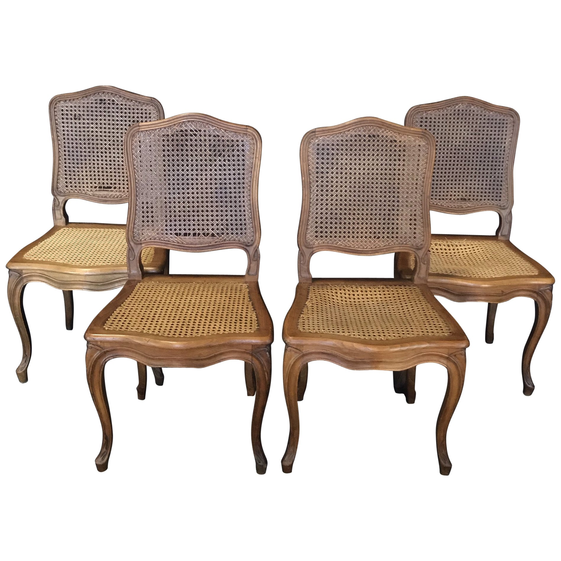 Set of 4 Classic Caned French Provincial Louis XV Style Walnut Dining Chairs