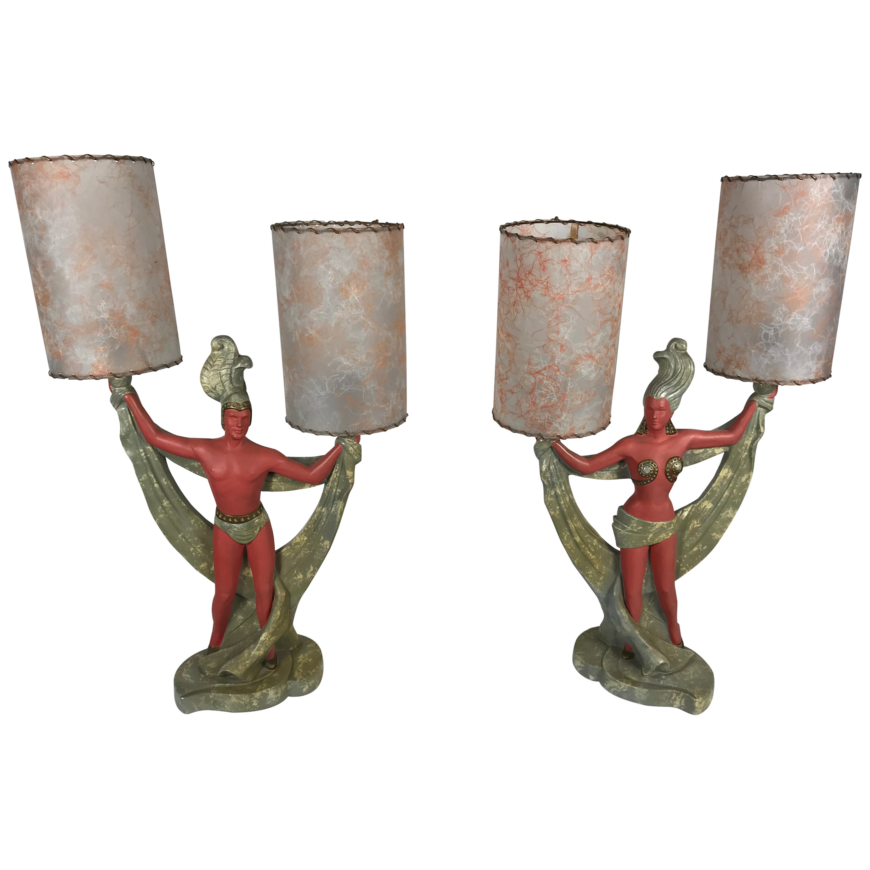 Classic Mid-Century Modern Plaster Figural Lamps, Continental Art Co., 1950s