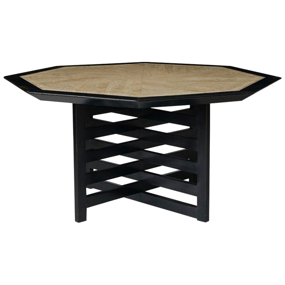 1950s Harvey Probber Travertine and Ebonized Wood Dining or Game Table