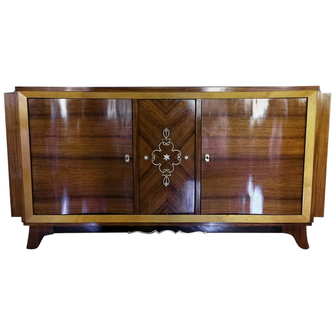 French Mid-century Design Exotic Wood Sideboard