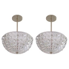 2 Austrian Mid-Century Modern Cut Crystal Pendant or Chandelier Bakalowits Sohne