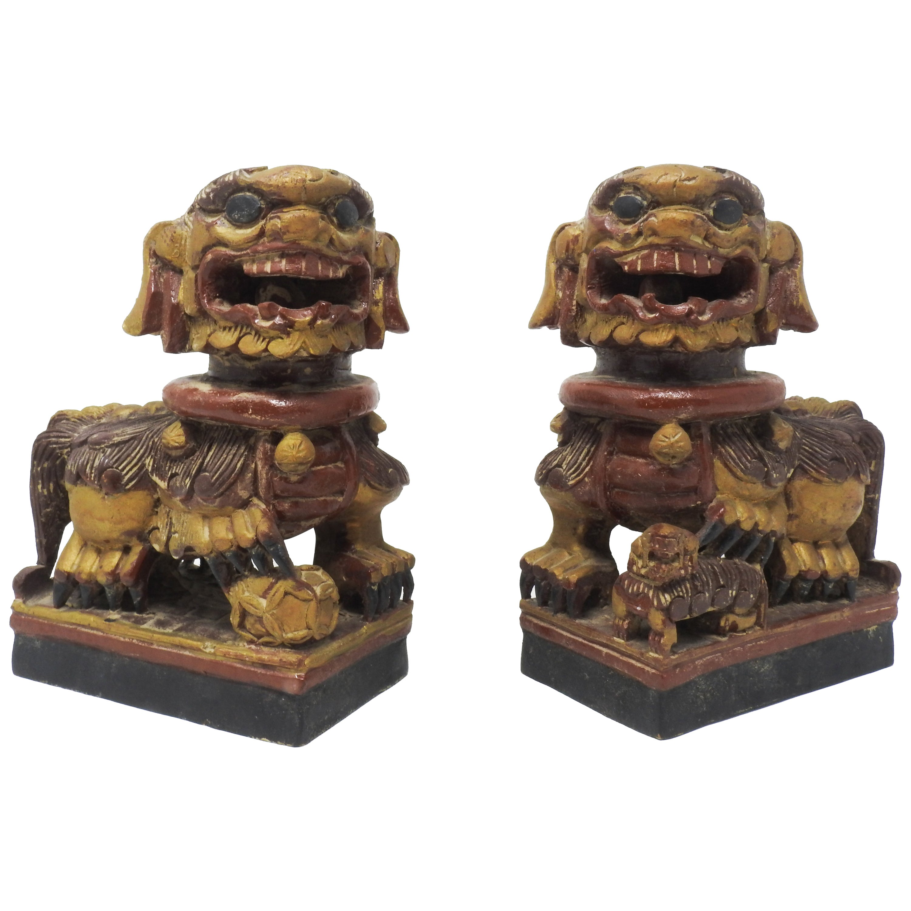 Chinese Hand Carved Wood Foo Dogs, 20th Century