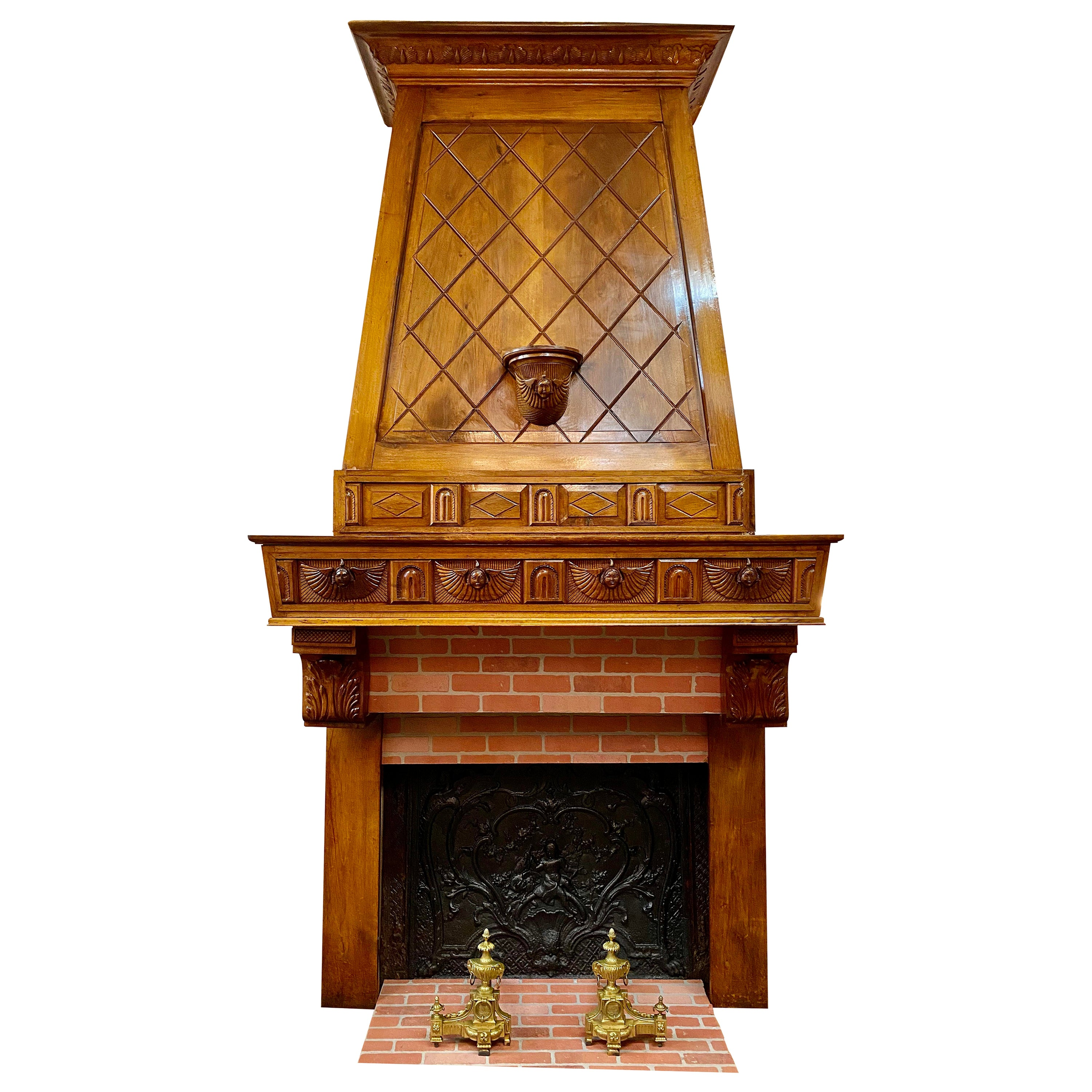 Early 1900s Antique French Art Nouveau Carved Walnut Fireplace Mantel