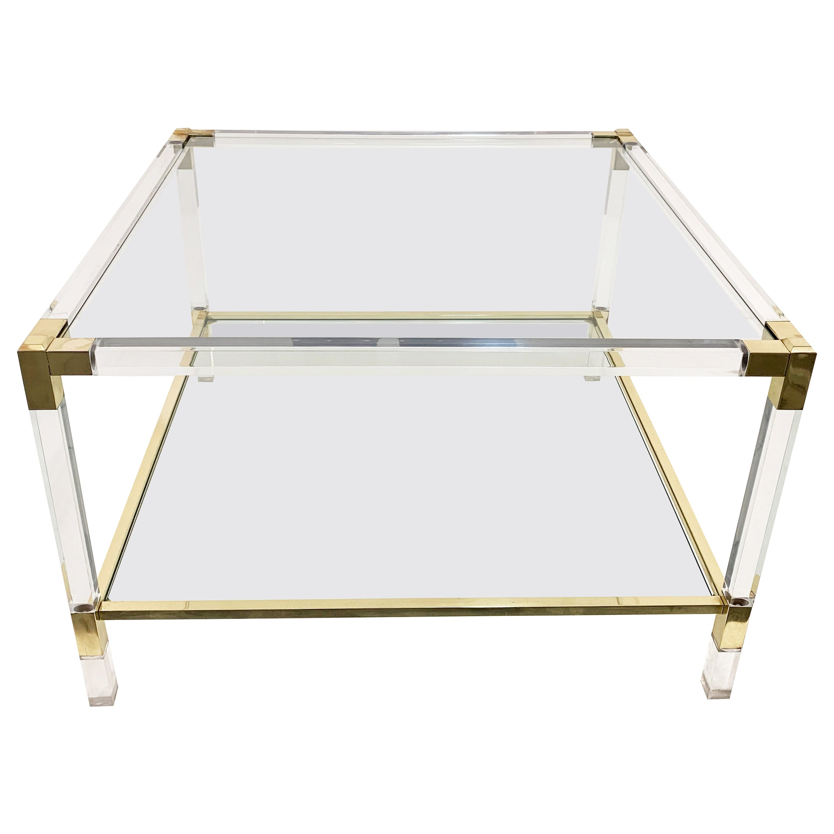 Charles Hollis Jones Plexiglass and Brass Italian Square Cocktail Table, 1970s