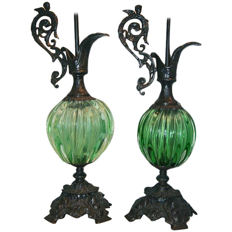 Pair of Bronze and Green Glass Lamps