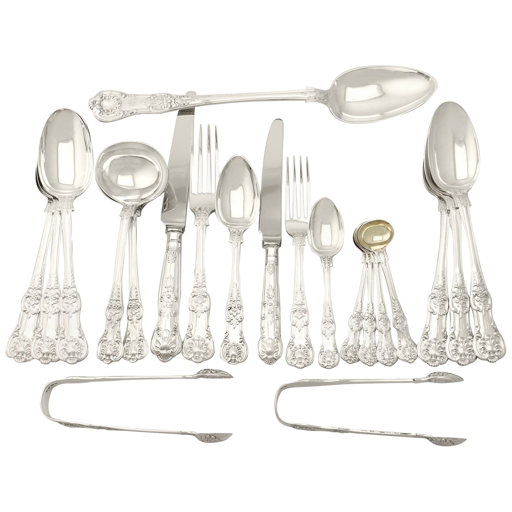 Antique Victorian Sterling Silver Canteen of Cutlery for Eighteen Persons