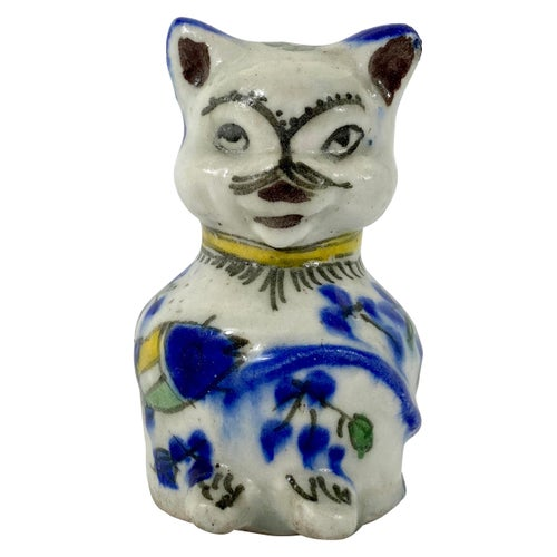 Qajar Pottery Seated Cat, circa 1880