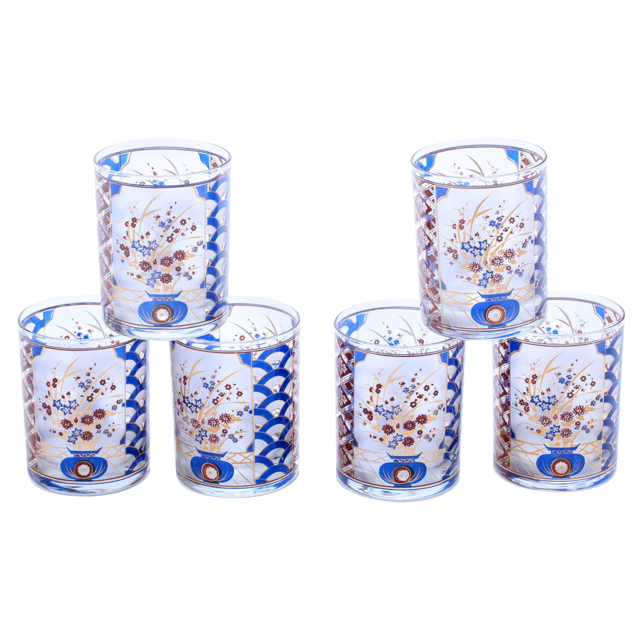 22-Karat Gold Chinoiserie Themed Rocks Glasses, circa 1960s