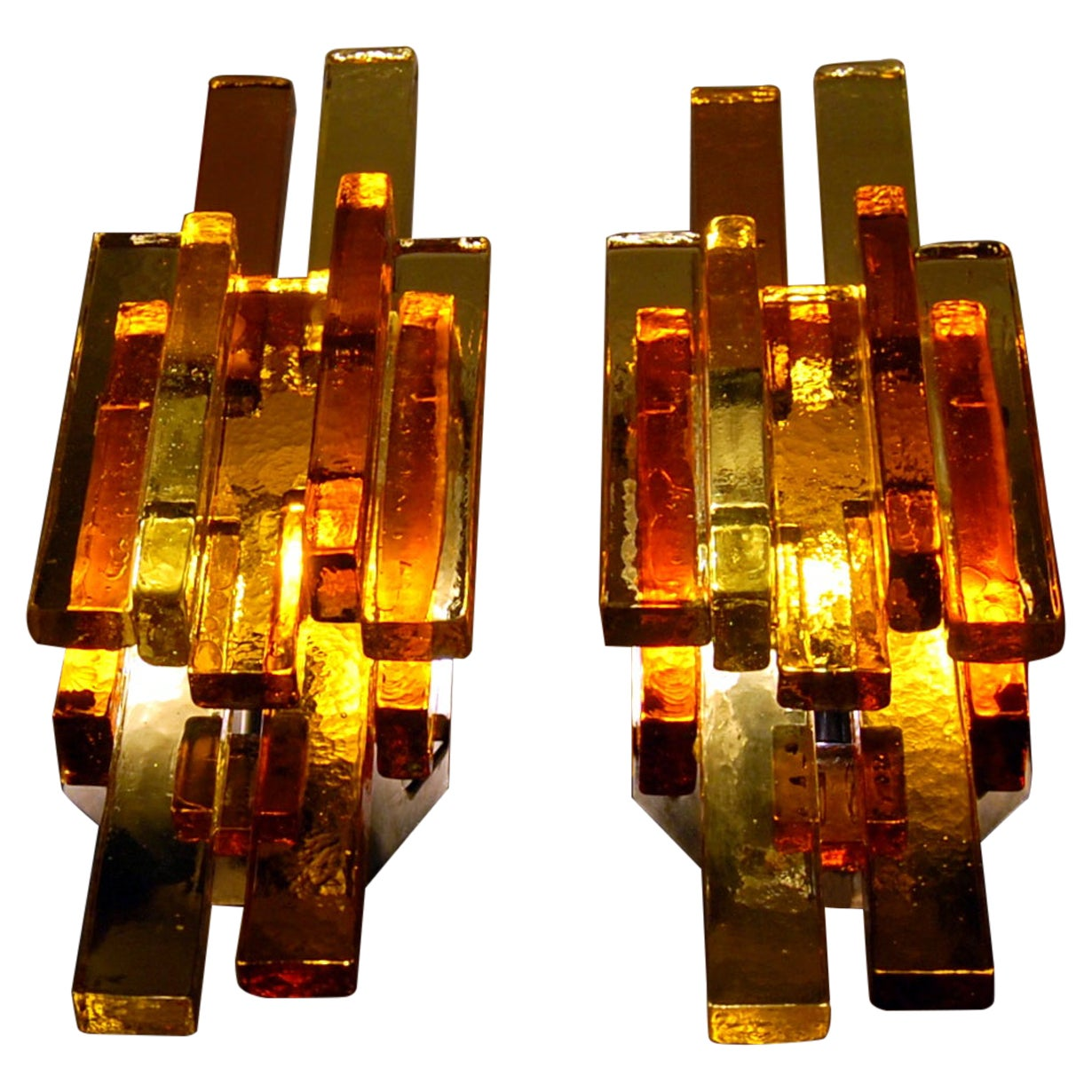 Pair of Glass Wall Sconces by Svend Aage Holm Sørensen, 1960s