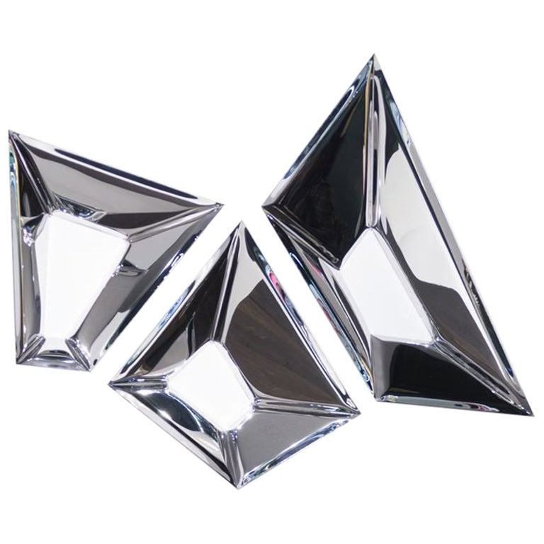 Crystals 3 Set Polished Stainless Steel Wall Decor by Zieta
