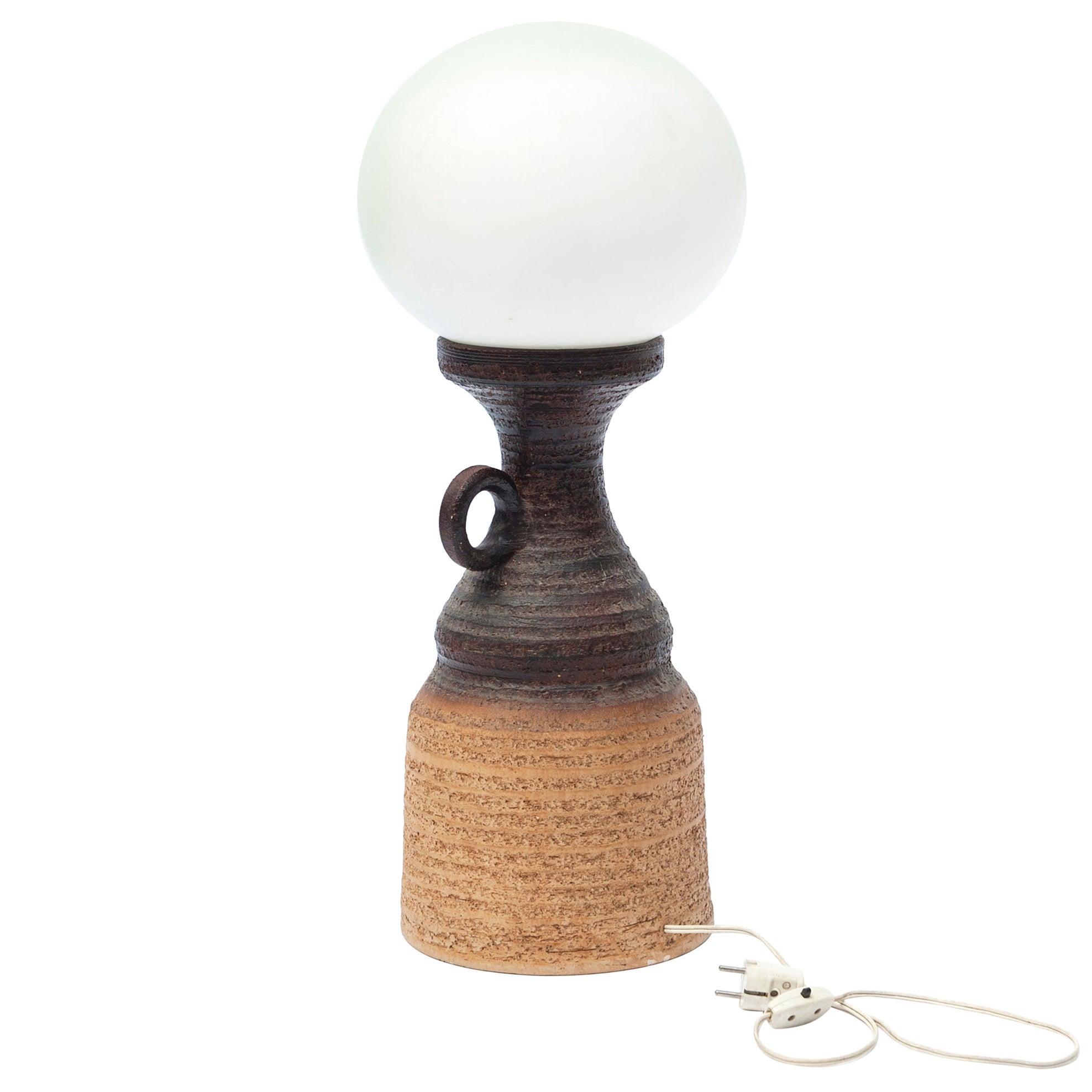 Ceramic Pottery Table Lamp with Globe Shade, 1970s