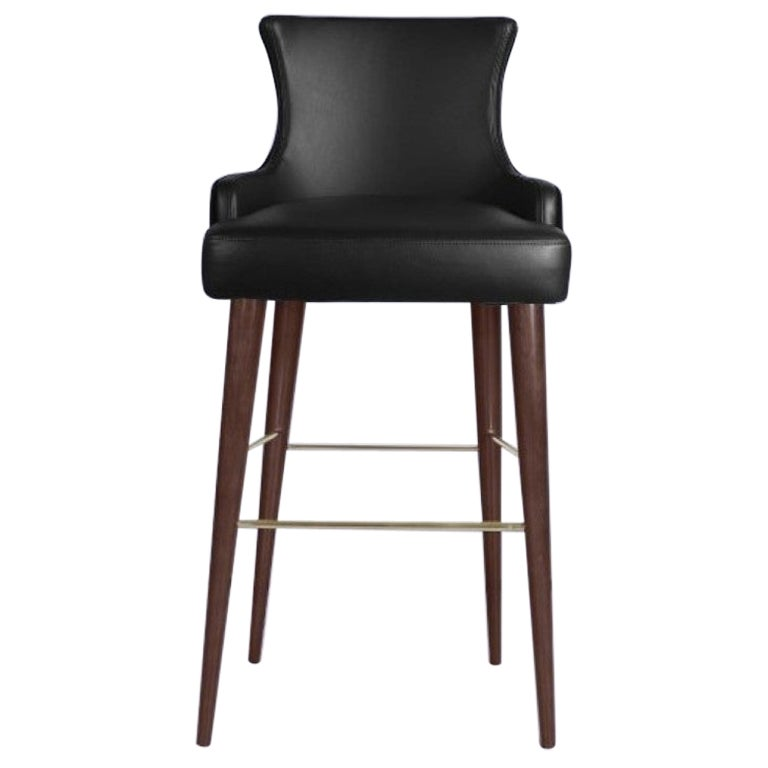 21st Century Gardner Bar Chair Leather Cotton Velvet Walnut Wood