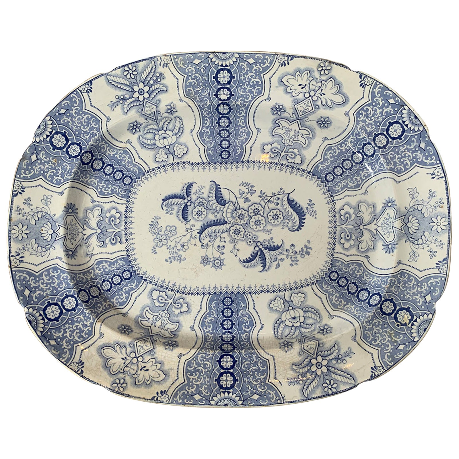 19th Century Staffordshire Transfer Granite Ware Blue and White Poonah J Charger