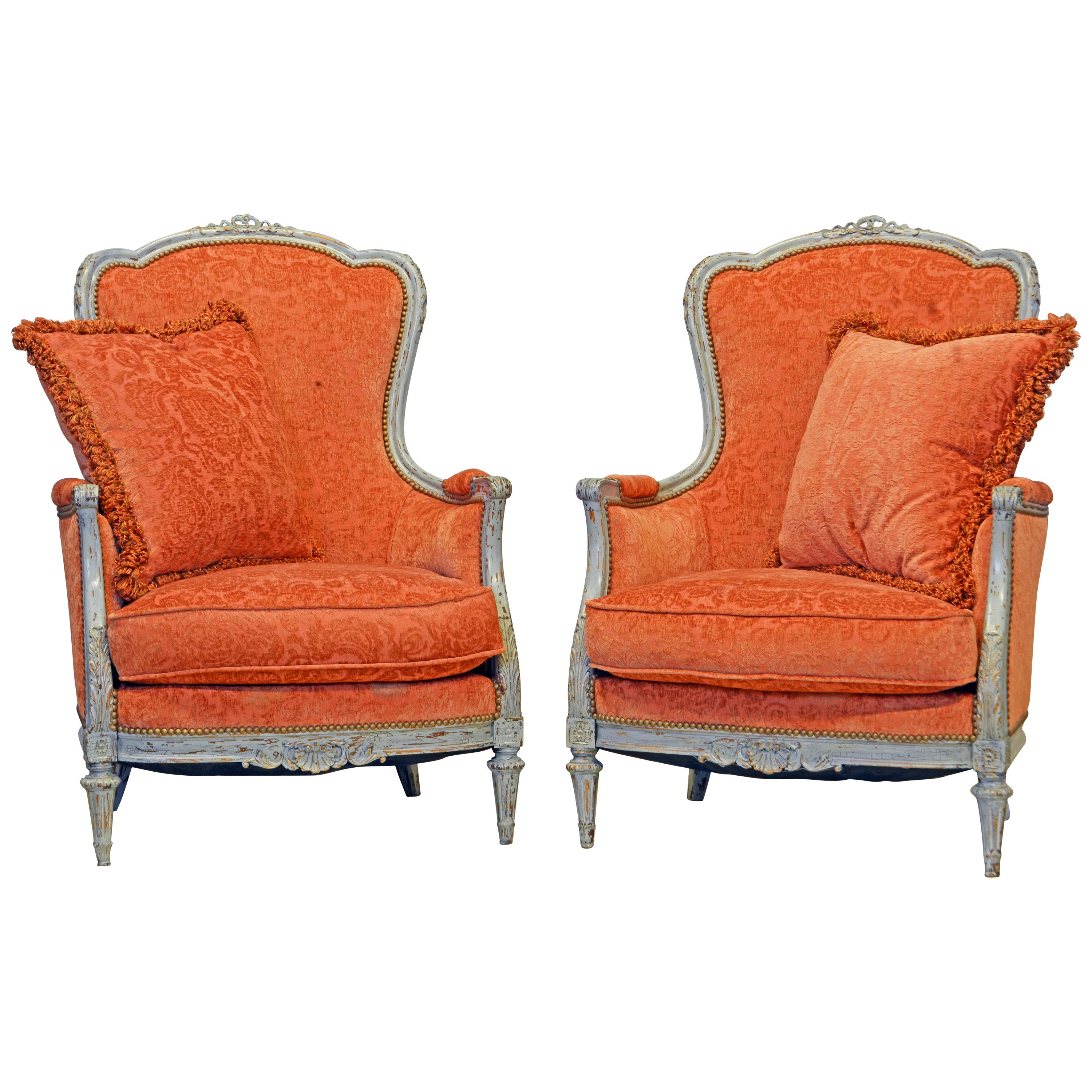 Pair of French Belle Époque Louis XVI Style Gray Painted Bergère Chairs