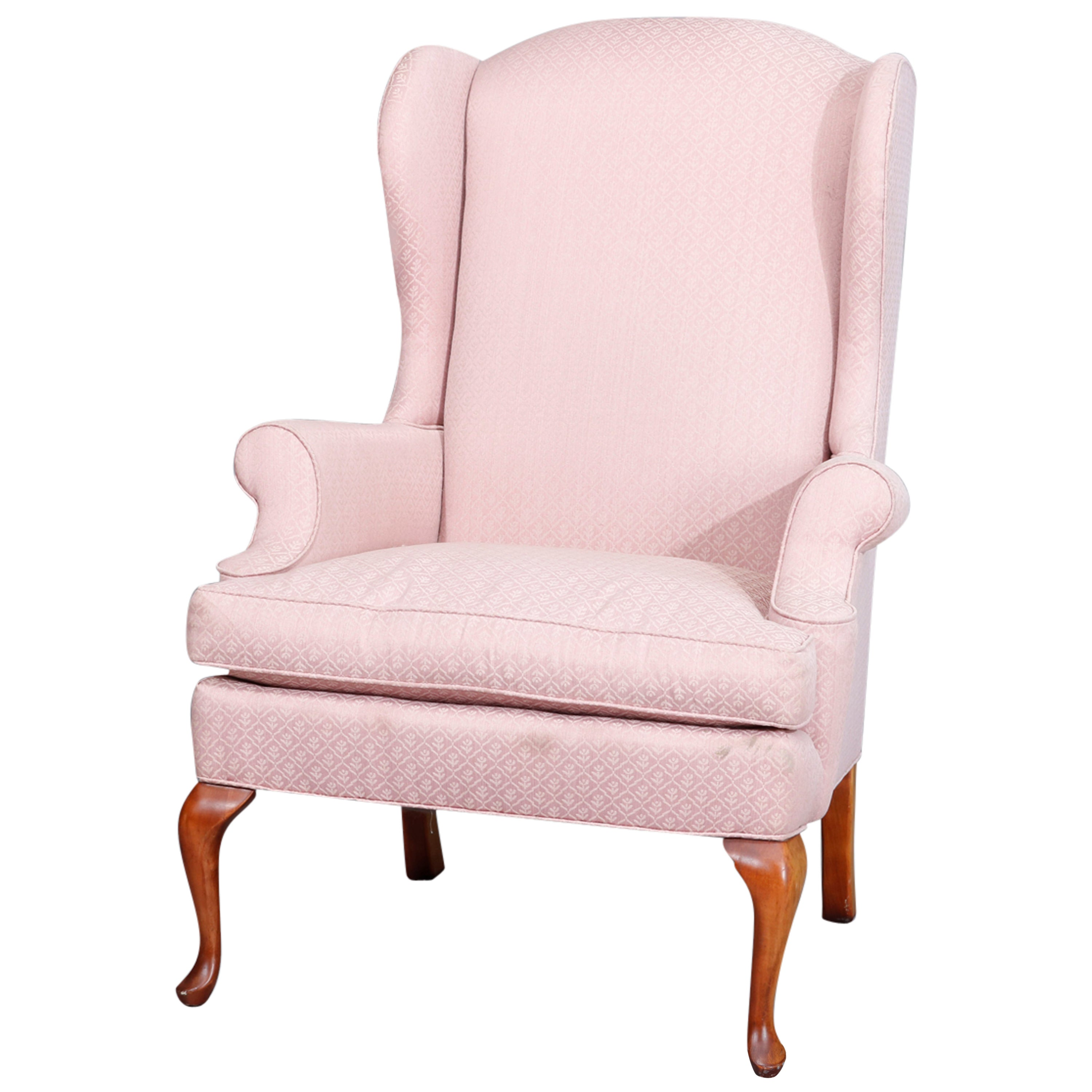 Queen Anne Style Mahogany Upholstered Wingback Chair by Laine, 20th Century
