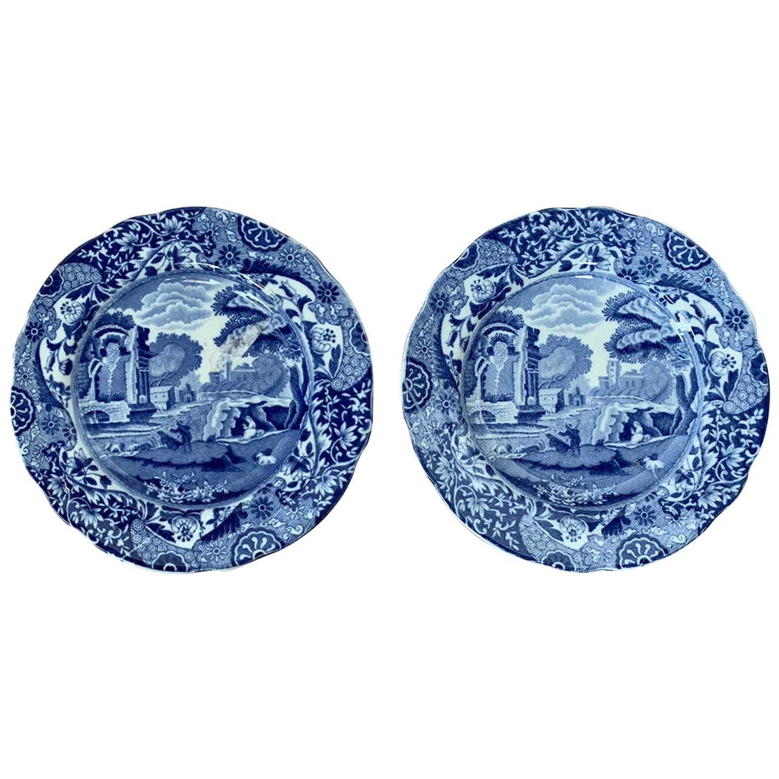 Pair of 19th Century English Blue & White Copeland Spode Round Porcelain Plates
