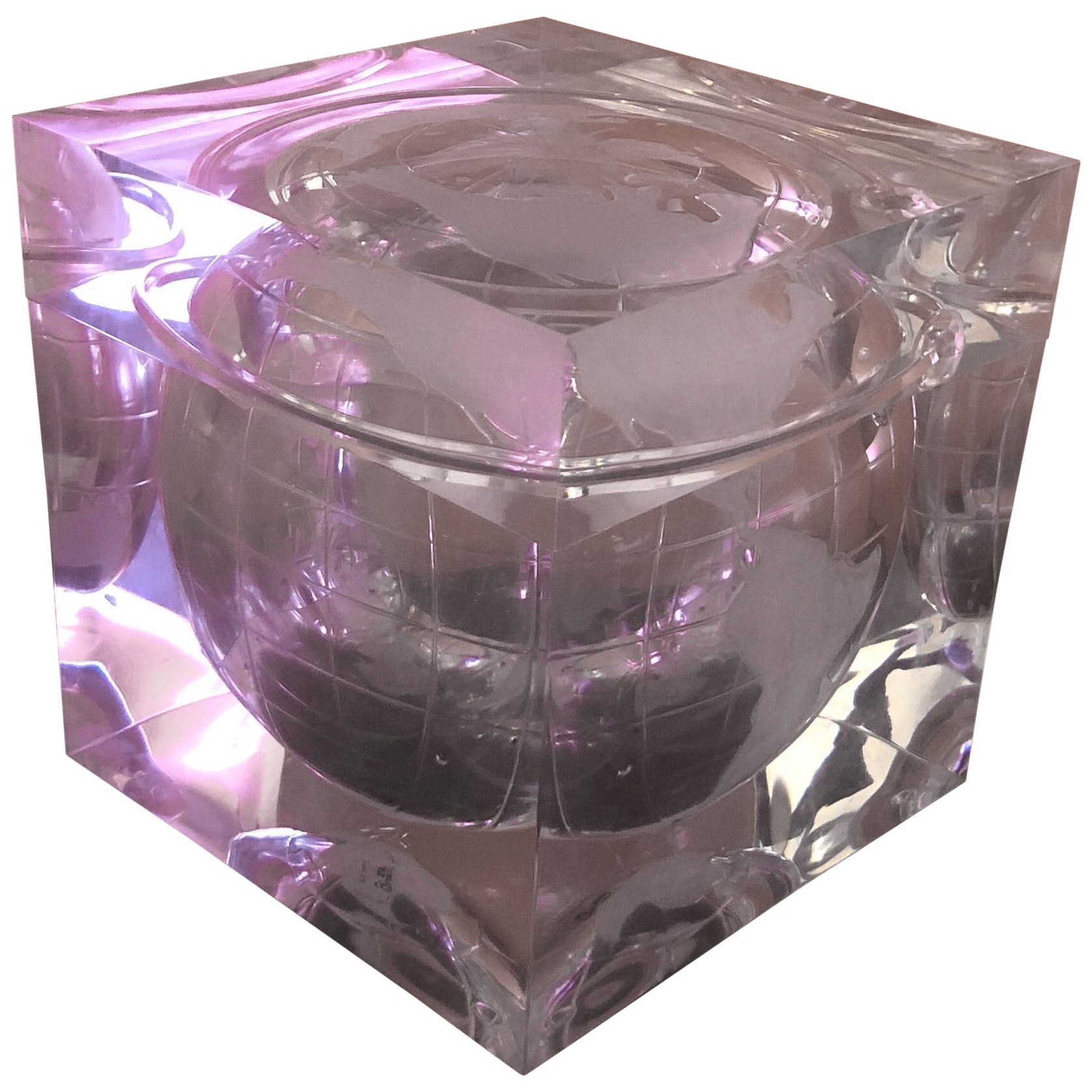 Etched Lucite World Globe Ice Bucket by Alessandro Albrizzi