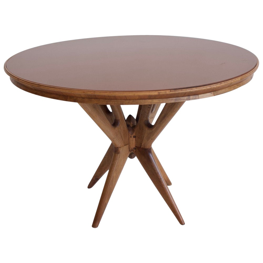 Italian Round Walnut Wood Table with Glass Top