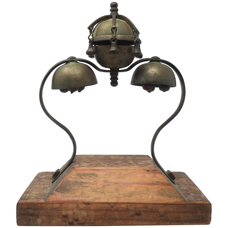 Tibetan Bronze and Brass Temple Meditation Bells on Wood Stand, 19th Century
