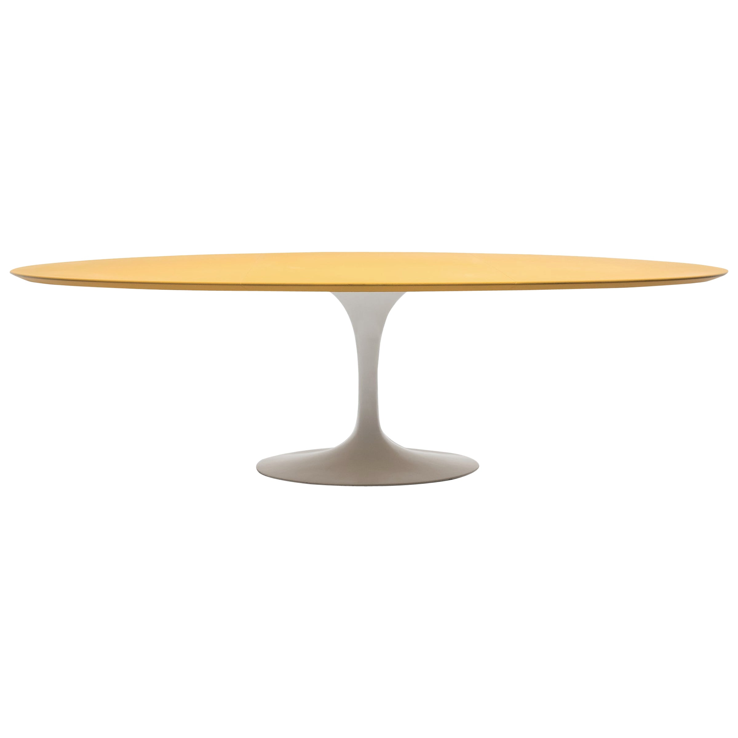 Vintage Knoll Saarinen Dining Table with Yellow Leather Top