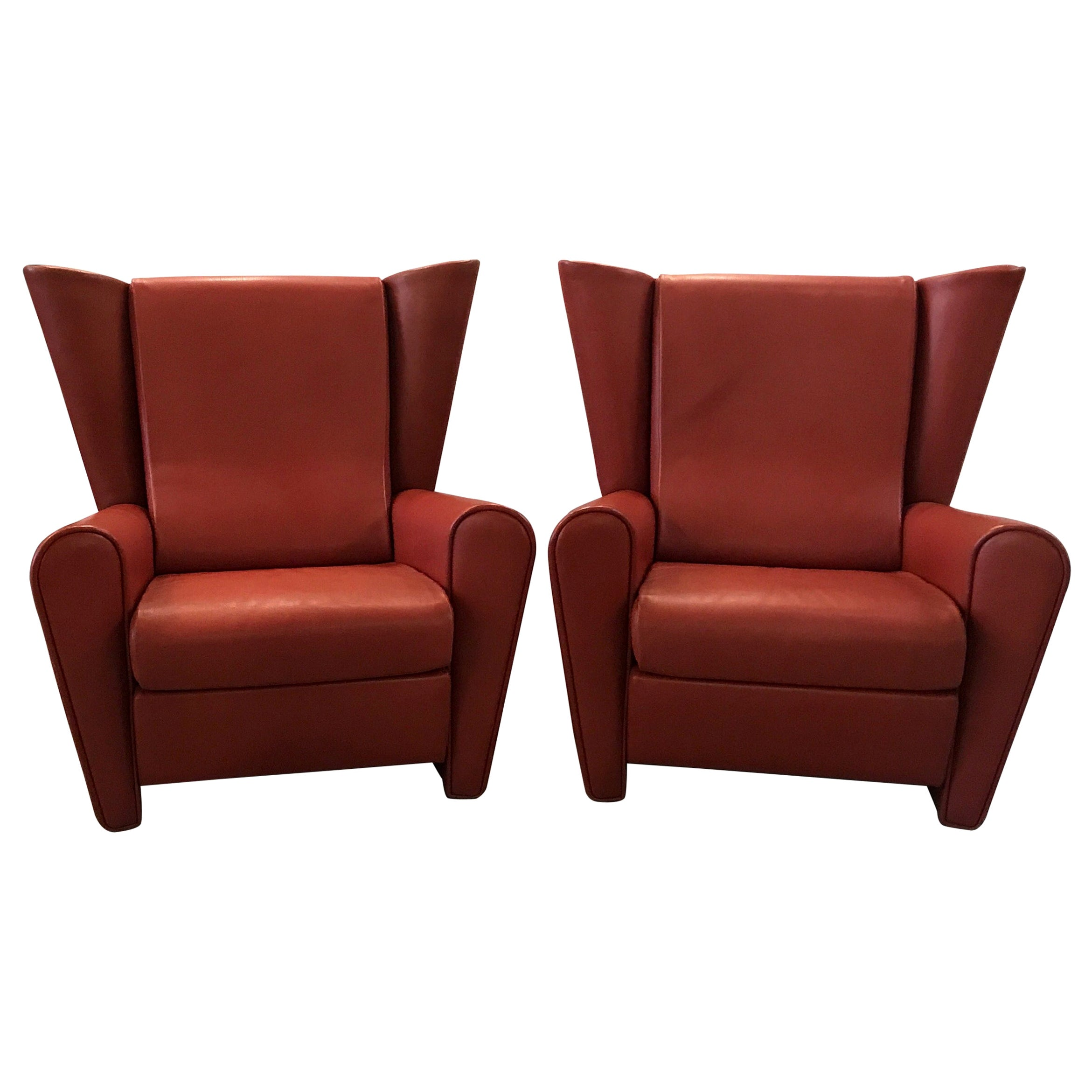 Large Pair of Alessandro Mendini Lounge Chairs for Matteo Grassi