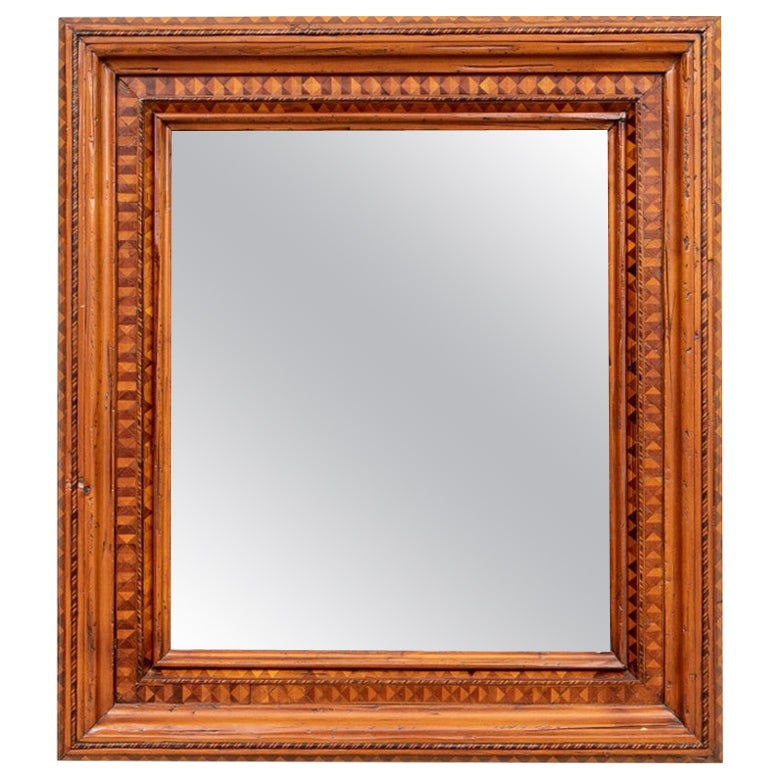 Large Antique Mirror with Parquetry Surround