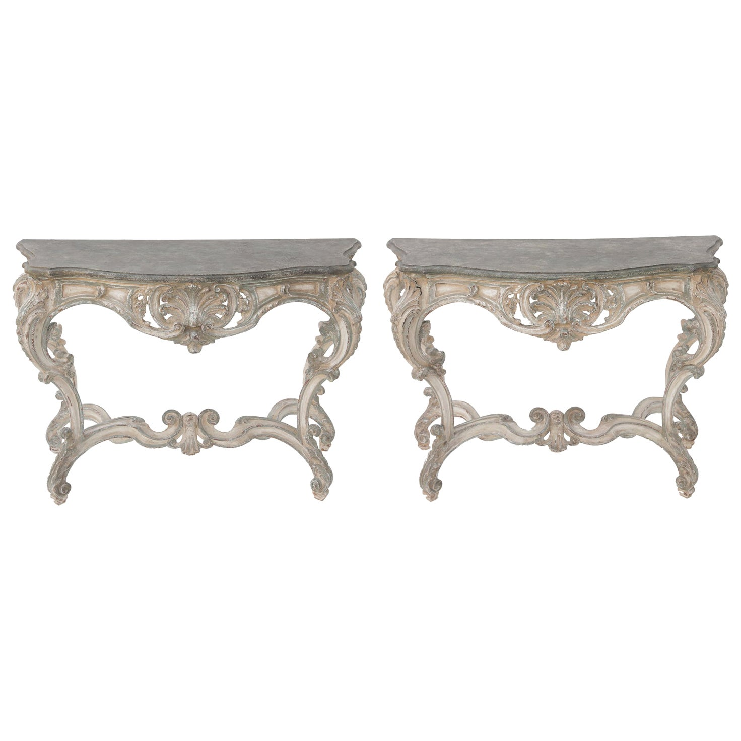 Pair of 18th Century Painted Rococo Consoles