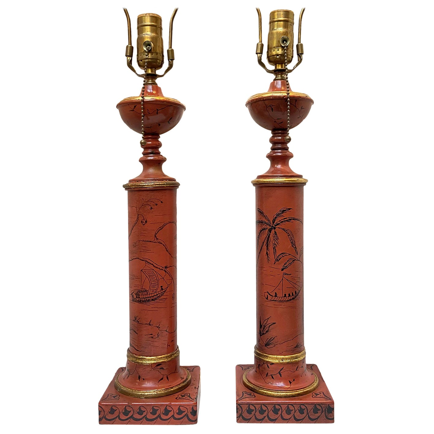 Pair of Red Chinoiserie Tole Table Lamps