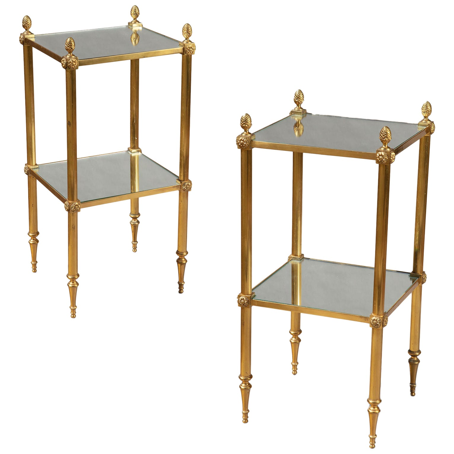Pair of Polished Brass Two-Tier End Tables