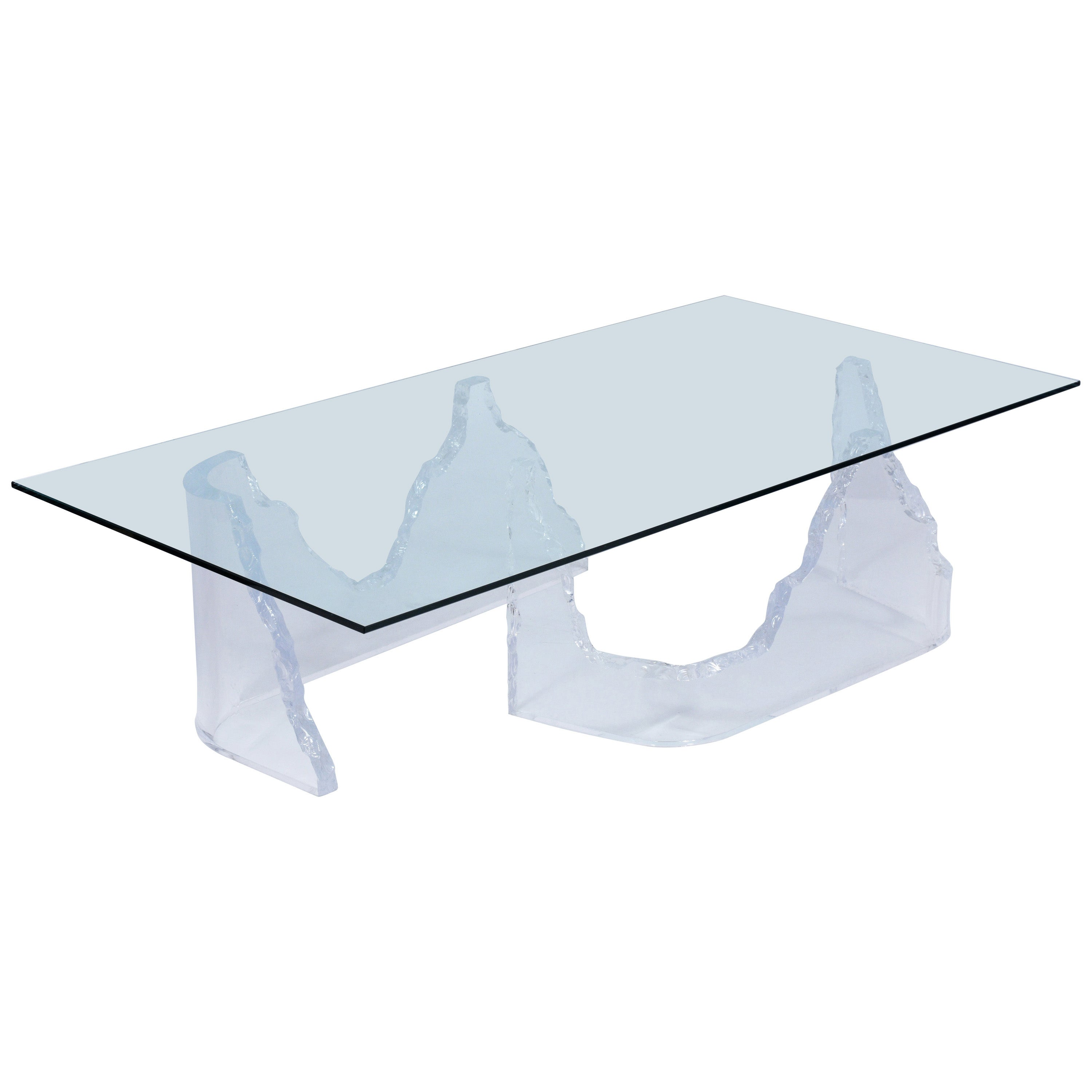 Mid-Century Modern Lucite Base Coffee Table