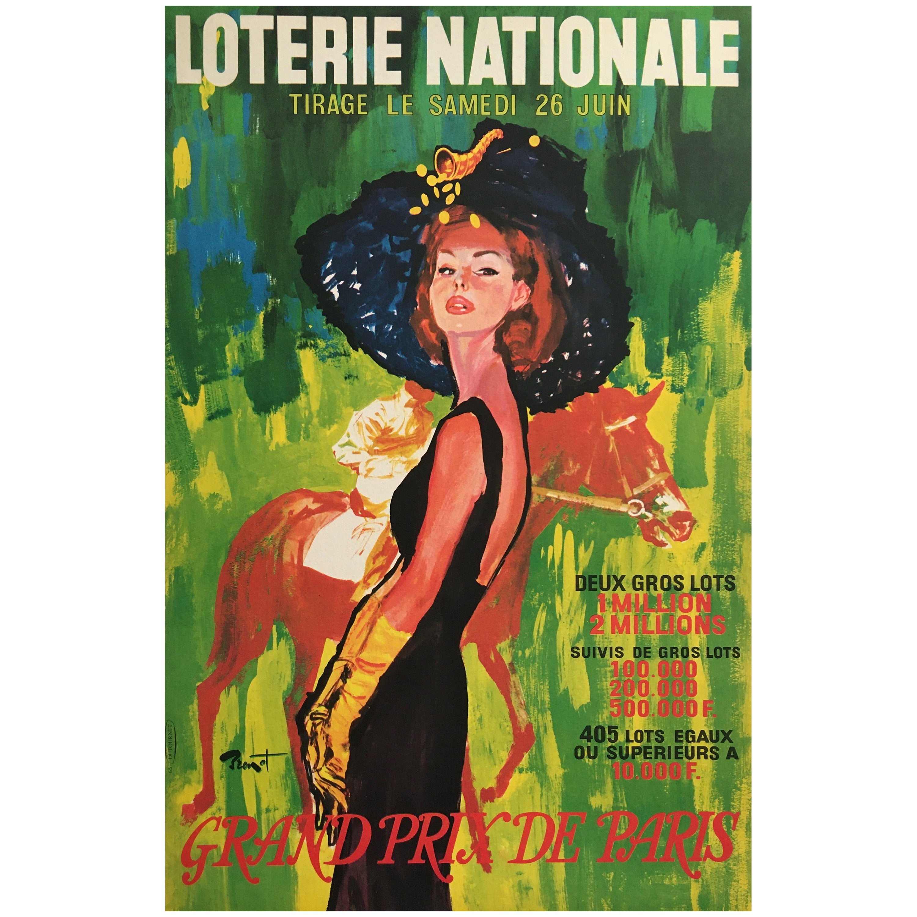 'Loterie Nationale' Original Vintage French Lithograph Poster, by Brenot, 1965