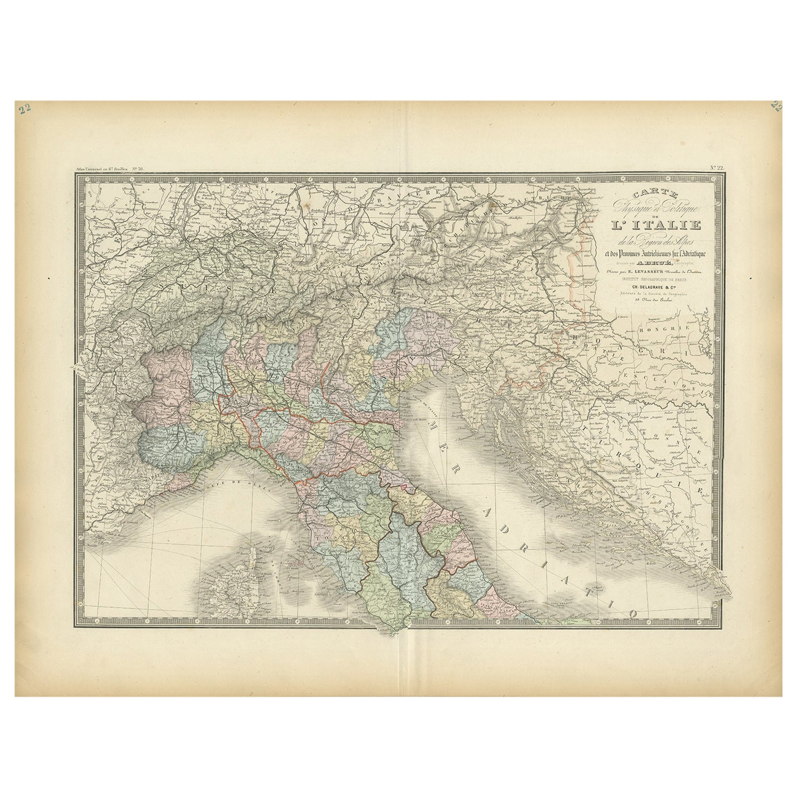 Antique Map of Northern Italy by Levasseur, 1875