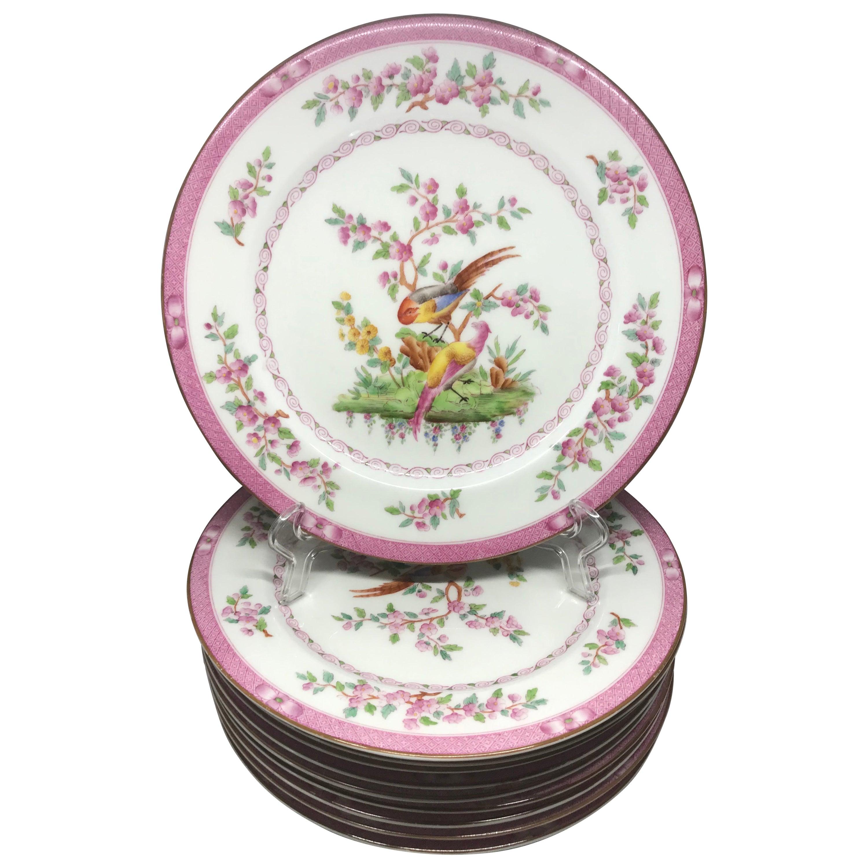 Set of Ten Pink Bird Plates